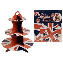 3 Tier Union Jack Cupcake Stand -  union jack party cup cake stand bowl plate napkin queens birthday celebration