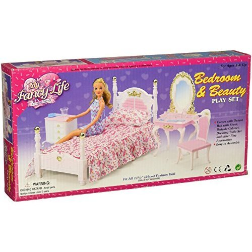 My Fancy Life Barbie Size Dollhouse Furniture Bed Room And Beauty Play Set