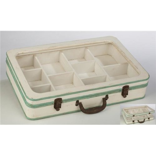 Wood Divided Jewelry Suitcase with Glass Top, White & Mint