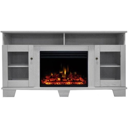 Cambridge CAM6022-1WHTLG3 Savona Electric Fireplace Heater with 59 in. White TV Stand Enhanced Log Display, Multi Color Flames & Remote