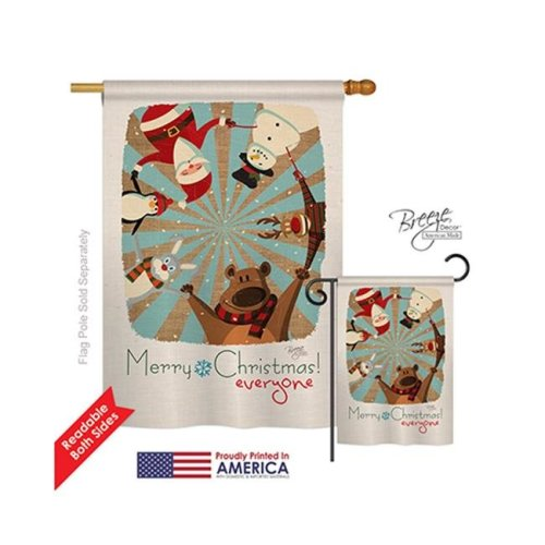 Breeze Decor 14109 Christmas Everyones Xmas 2-Sided Vertical Impression House Flag - 28 x 40 in.