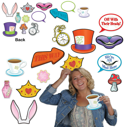 12 Piece Alice In Wonderland Photo Fun Signs Mad Hatter Cutout Party Decorations