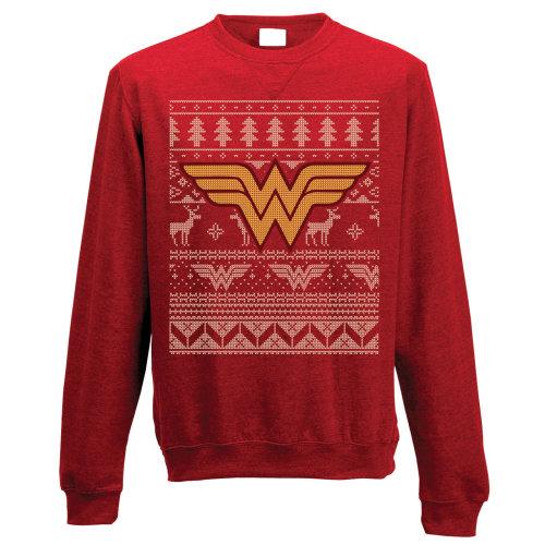 Medium Adult's Wonder Woman Christmas Jumper -  wonder woman crewneck sweatshirt fair isle logo adults dc comics superhero theme christmas jumpers