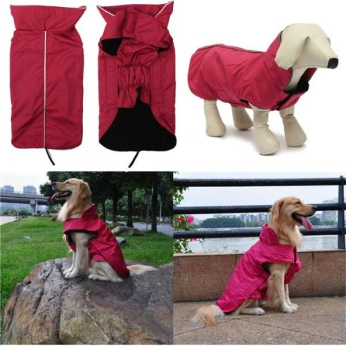 Waterproof Winter Pet Dog Puppy Lined Reflective Piping Coat Jacket