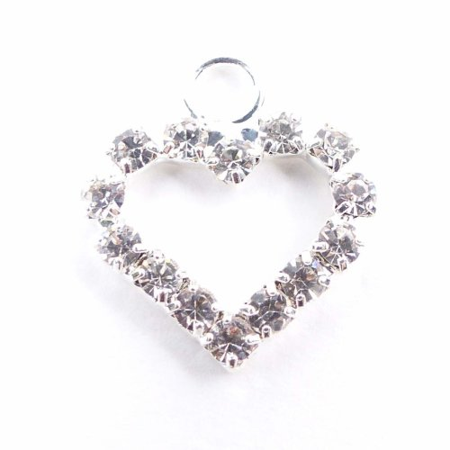 10 x MINI Heart (with ring) Silver Diamante Embellishment Ribbon Slider Buckle Heart Charm