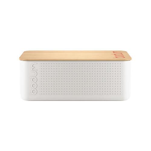 Bodum 11740 Bistro Bread Small Bread Bin, Plastic, Wood, white, 19.39 x 29.4 x 10.7 cm