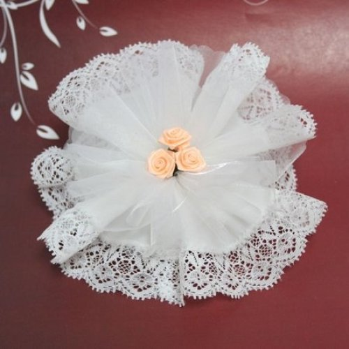 White Crystal And Laced Edge Ready Made Favor With 3 Peach Ribbon Roses