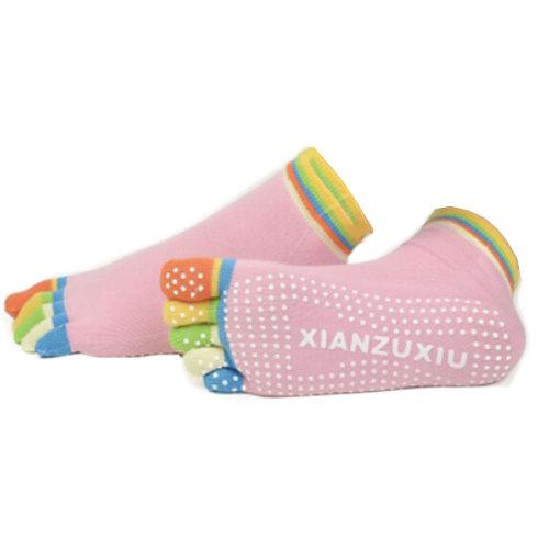 Women's Non Slip Full Toe Yoga Socks With Grip 2 Pairs Set,Rainbow Toe/Pink