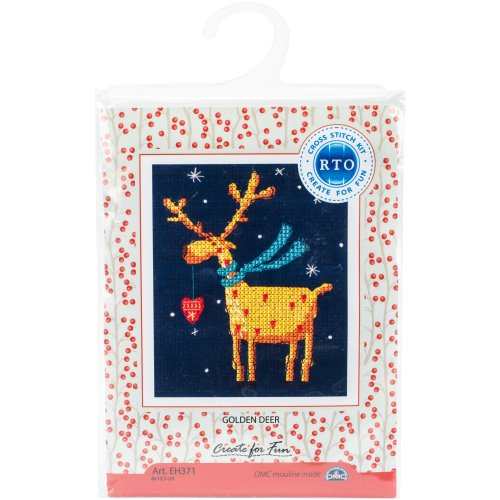 """Golden Deer Counted Cross Stitch Kit-3.25""""X4.25"""" 14 Count"""