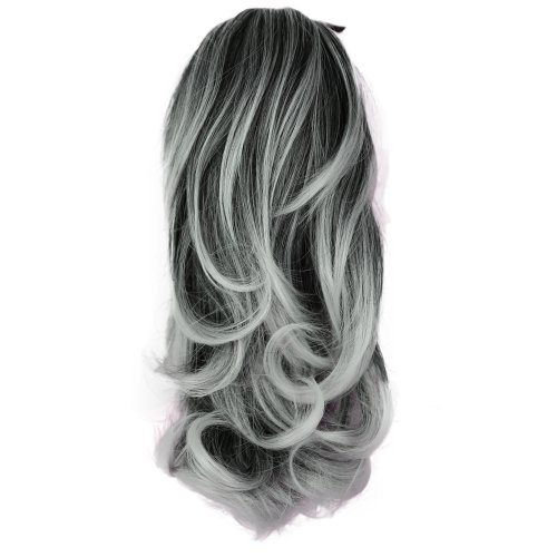 """PRETTYSHOP 14"""" Hair Piece Ponytail Extension wavy Nature Looking Heat-Resisting Gray mix # 1Tray H126"""