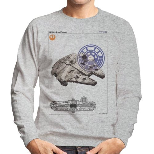 (Medium, Heather Grey) Star Wars Millenniumm Falcon Orthographic Men's Sweatshirt