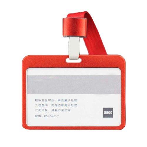 Aluminum Alloy Horizontal ID Card Badge Holder with Neck Lanyard Strap 3PCS, 44