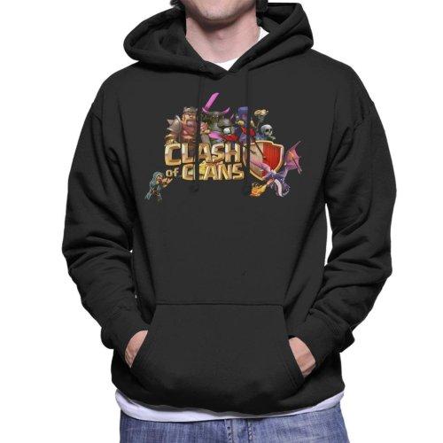 (Medium, Black) Clash Of Clans Characters Logo Men's Hooded Sweatshirt