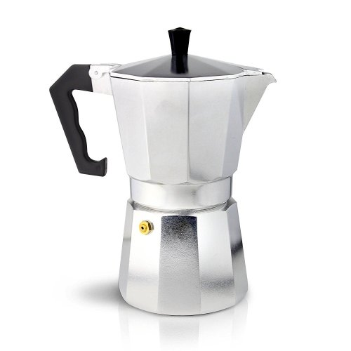 Café Ole 3-Cup Italian Style Aluminium Espresso Coffee Maker, Silver, 120 ml