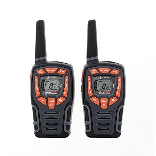 Cobra AM845 Weather Resistant Walkie Talkie with Built-in LED Flashlight, over 10Km Range, Power Saving Function and includes Rechargeable Batteries (2 Pack) – Black