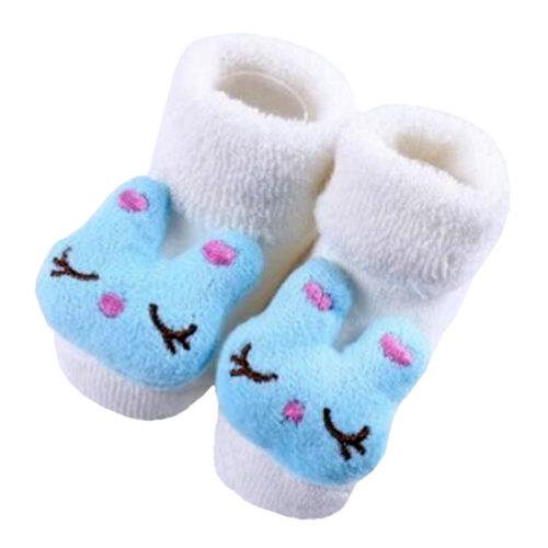 2 Pairs of Cozy Designer Unisex-Baby Cotton Socks Baby Gifts ,  White Blue Rabbit