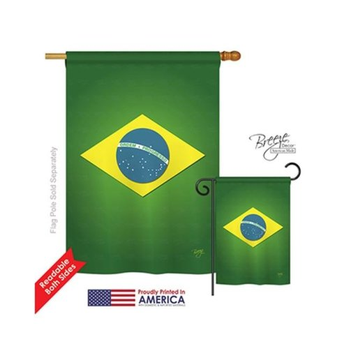 Breeze Decor 08090 Brazil 2-Sided Vertical Impression House Flag - 28 x 40 in.