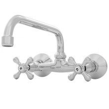 Kitchen / Bathroom Wall-mount Traditional Water Mixer Tap Cross Head C-type