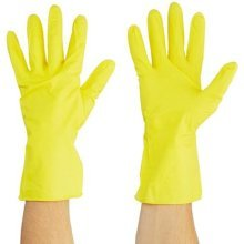Bingold 504217KARTON Rubber Washing Up Gloves Baumwollbeflockt Bodyshaping CE–CATEGORY 1–L, Yellow (Pack of 200)