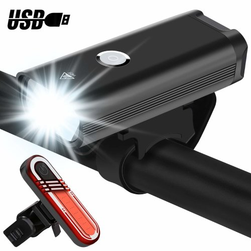 EMIUP Bike Lights Set, Super Bright Waterproof Cycle Lights, USB Rechargeable Easy Install Bicycle Lights, 3 Light Modes LED Bike Lights Set for...