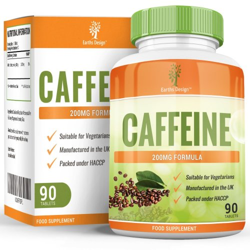 Caffeine Tablets - High Strength - 200mg - Strong Caffeine Pills - Suitable for Vegetarians - 90 Tablets (3 Month Supply) by Earths Design