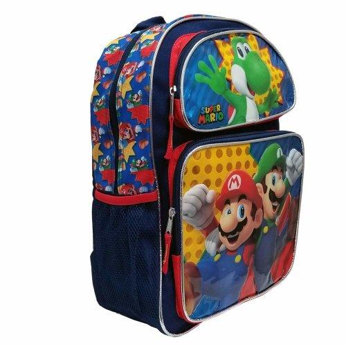 "Backpack - Nintendo - Super Mario & Luigi 16"" New 202341"