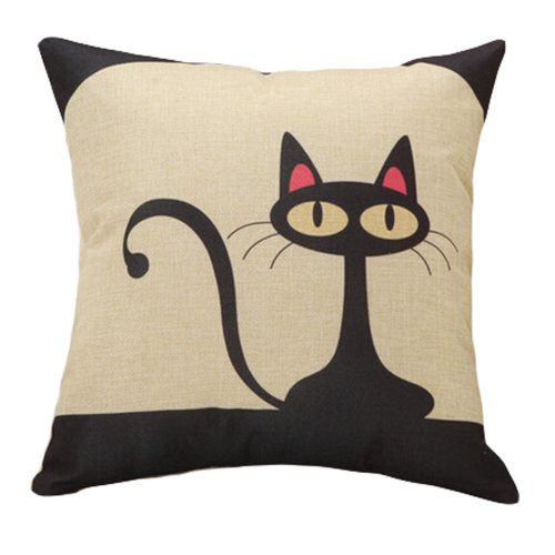 Decor Cotton Linen Decorative Throw Pillow Case Cushion Cover,Black Cat
