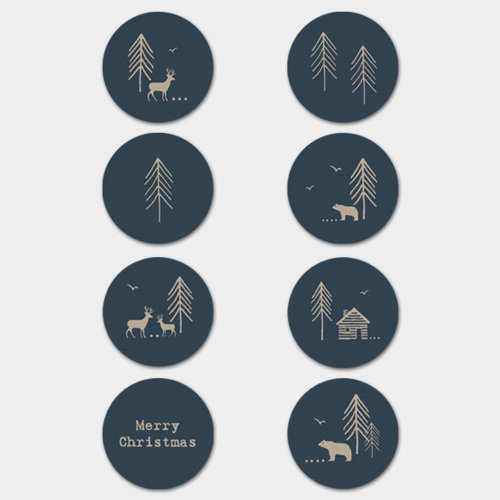 East of India Christmas Forest Stickers Navy Single Sheet 40 Stickers Xmas Craft