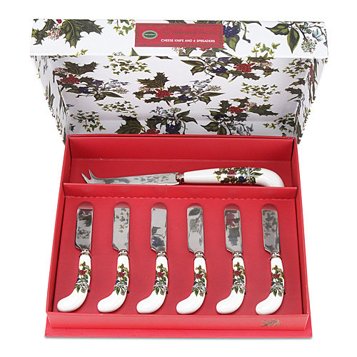 Portmeirion the Holly and the Ivy Cheese Knife & 6 Spreaders Set