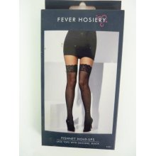 Black Fishnet Stockings With Lace Top -  black fishnet lace stockings fancy dress hold ladies sexy ups tops holdups costume new