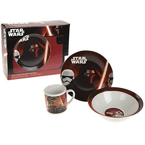 Star Wars 3pcs Porcelain Breakfast Set - 3 Piece Star Plate Bowl Mug Children -  set breakfast 3 piece porcelain starwars plate bowl mug children