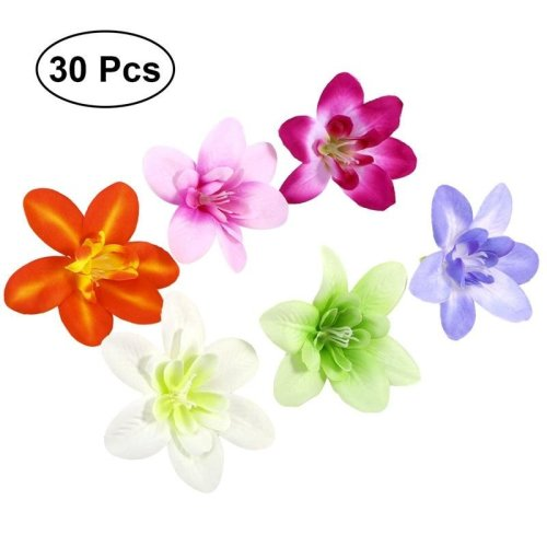 30pcs DIY Artificial Silk Orchid Flower Heads for Hat Clothes Album Bridal Garland Headbands Embellishment