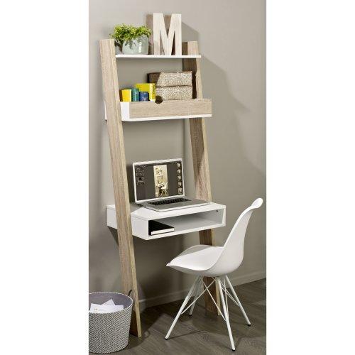 SoBuy® FRG111-WN, Ladder Shelf Storage Display Shelving with Drawer & Desk Workstation