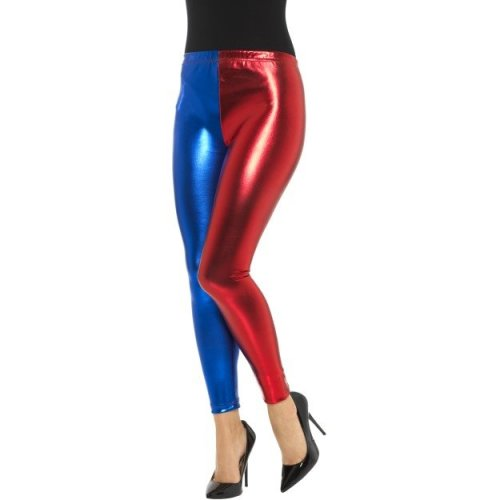Medium Metallic Blue & Red Ladies Harlequin Cosplay Leggings -  harlequin metallic leggings fancy dress ladies womens adult blue red harley outfit