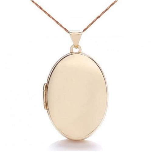 9ct Gold-Filled Plain Locket & Chain | Large Oval Locket