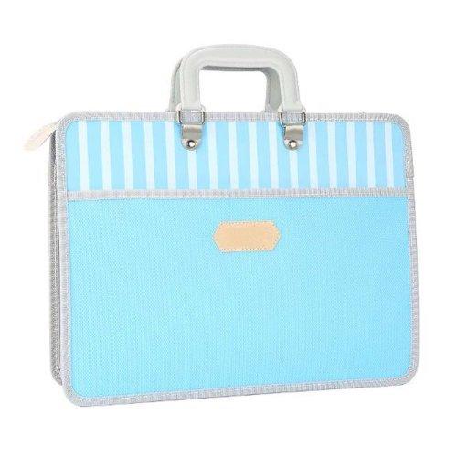 Paper Clip Multilayer File Holder Portable Canvas Information Bag-Blue