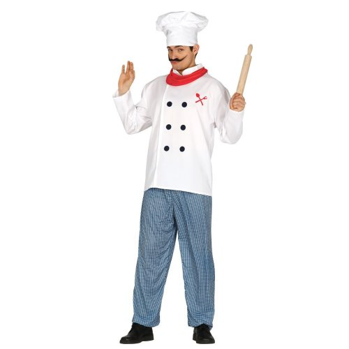 Mens Chef Kitchen Whites Fancy Dress Costume Large