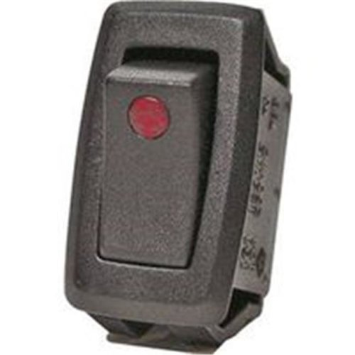 Calterm 0156422 Automotive Rocker Switch with Red LED Dot, 12VDC, 32 A