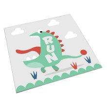 Square Cute Cartoon Children's Rugs, White And Big Mouth Cartoon Dinosaur
