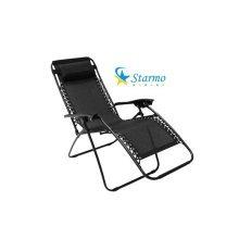 Starmo Zero Gravity Textoline Garden Chair Sun Lounger Recliner Camping Black