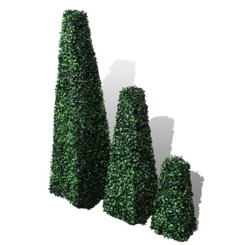Set of 3 Artificial Boxwood Pyramid Topiary