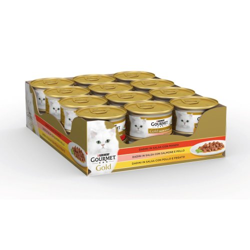 Gourmet Gold Food for the Cat Dice in Salsa with, with Salmon and Chicken, Beef with Chicken and Liver, Pack of 24x 85g