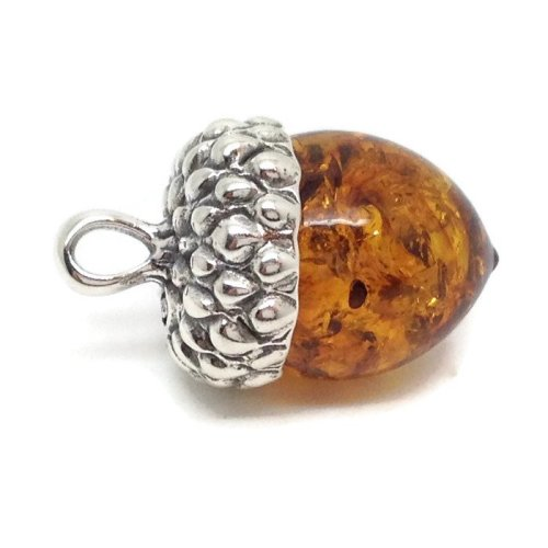 Real Baltic amber acorn pendant, solid Sterling Silver.