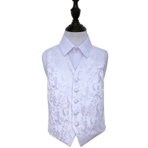 White Floral Wedding Waistcoat for Boys 24'