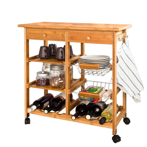 SoBuy® FKW06-N, Bamboo Kitchen Storage Trolley Serving Trolley