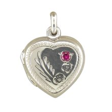 Childrens Sterling Silver Engraved Heart With Red Stone Locket On A Curb Necklace