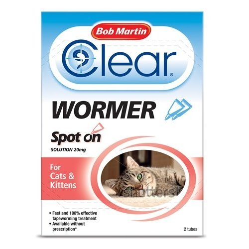 Bob Martin - Clear Spot On Wormer for Cats & Kittens x 2 Pipettes