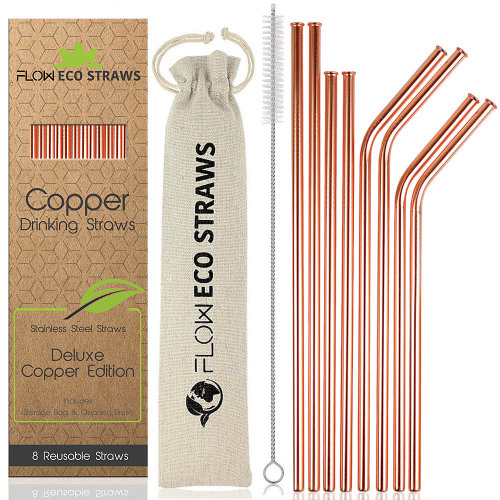 8pk Reusable Copper Drinking Straws | Metal Straws