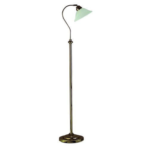 Floor Lamp Antique Brass Complete With Marble Effect Glass