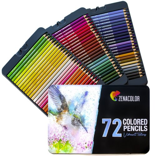 72 Colouring Pencils (Numbered) with Metal Box by Zenacolor - 72 Unique  Coloured Pencils and Pre Sharpened Crayons for Coloring Book - Easy  Access...